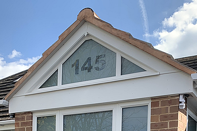 acid-etched feature gable end above a newly built porch in Stechford, Birmingham