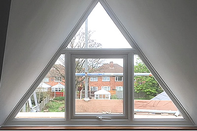 internal view of the finished triangular shaped window by Solihull WDC, from solihullwindows.co.uk